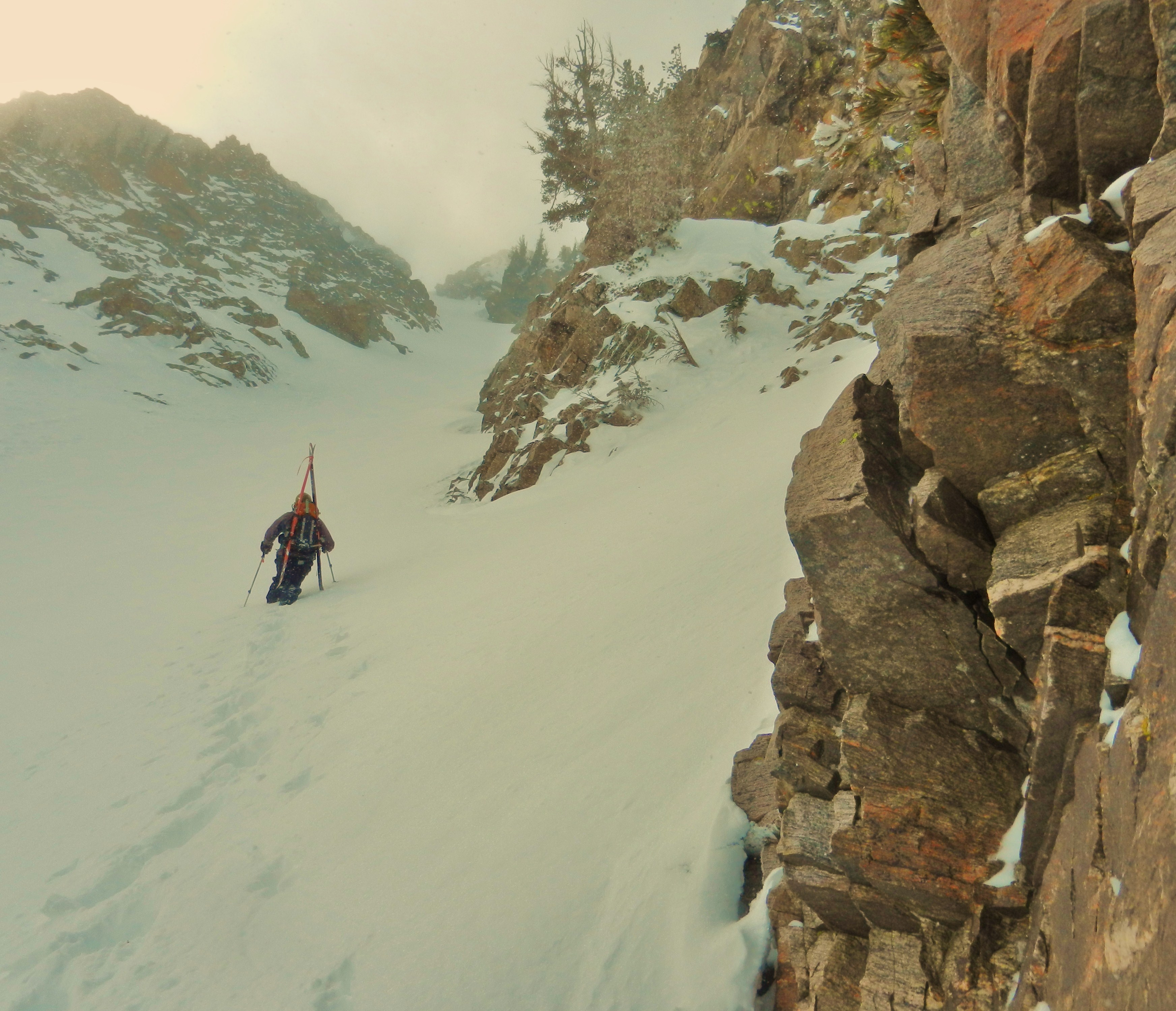 Jon ascends the upper fork of the Black Hole Couloir