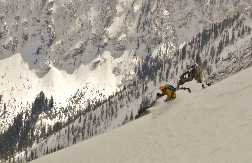 Mike finds some powder on the Upper Drizzlepuss